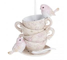 "Подвеска ""Птички на чашках"" 11 см"
