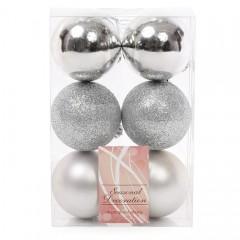 Набор елочных шаров 6 см - серебро