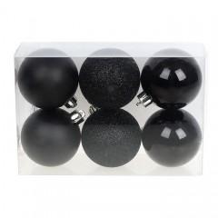 Набор елочных шаров 6 см - черный