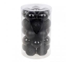 Набор елочных шаров 3см - черный