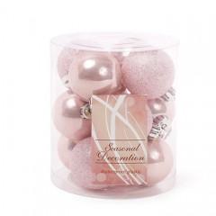 Набор елочных шаров 4 см - розовый