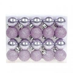 Набор елочных шаров 3 см - лиловый