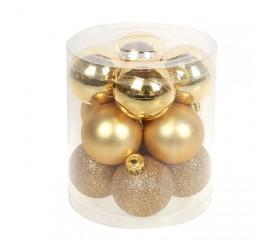 Набор елочных шаров 4 см - золото