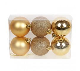 Набор елочных шаров 6 см - золото