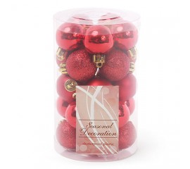 Набор елочных шаров 3 см - красный
