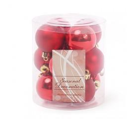 Набор елочных шаров 4 см - красный