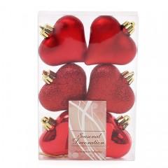 """Елочное украшение """"Сердца красные"""" 6 см"""