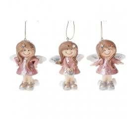 """Подвеска """"Девочка - ангелочек"""" розовый 10 см"""