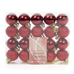 Набор елочных шаров 3 см - бордо