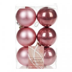 Набор елочных шаров 6 см - розовый