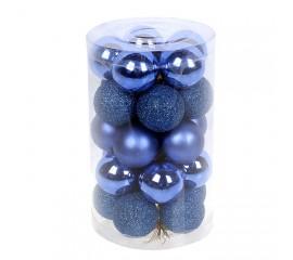 Набор елочных шаров 3см - синий