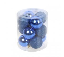 Набор елочных шаров 4 см - синий