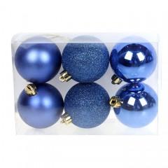 Набор елочных шаров 6 см - синий
