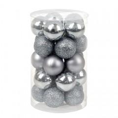 Набор елочных шаров 3 см - стальной