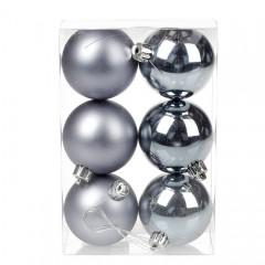 Набор елочных шаров 6 см - стальной