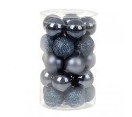 Набор елочных шаров 3 см - темно-синий