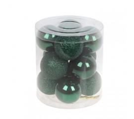 Набор елочных шаров 4 см - зеленый
