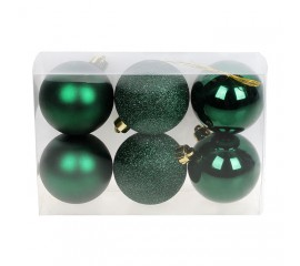 Набор елочных шаров 6 см - зеленый