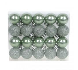 Набор елочных шаров 3см - эвкалипт