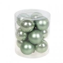 Набор елочных шаров 4 см - эвкалипт