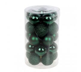 Набор елочных шаров 3см - зеленый
