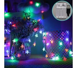 "Светодиодная гирлянда ""Звездочки"", 20 ламп, 3 м, цветная, USB + батарейки"