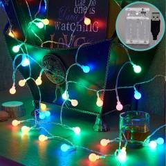 """Світлодіодна гірлянда """"Матові кульки"""", 20 ламп, 3 м, кольорова, 2 режими, батарейки / USB"""