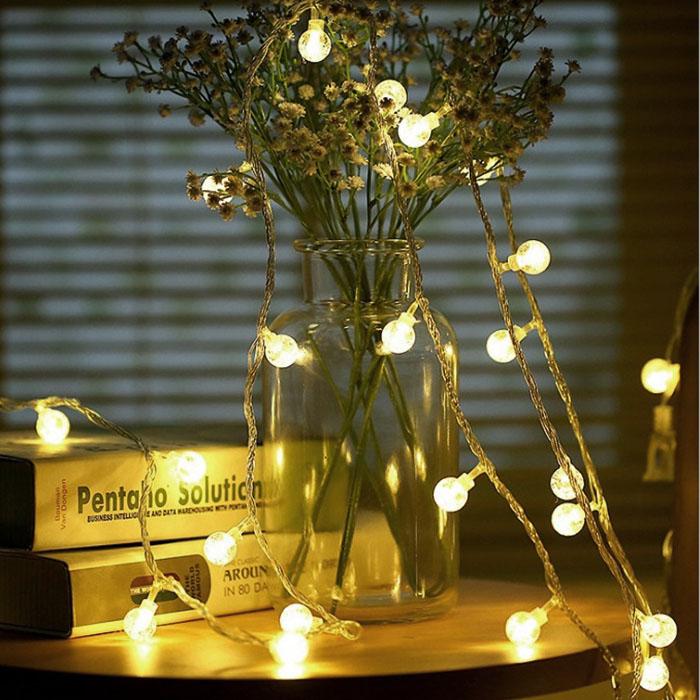 """Гирлянда """"Хрустальные шарики"""", 10 светодиодов, 1,5 м, теплый белый, на батарейках"""