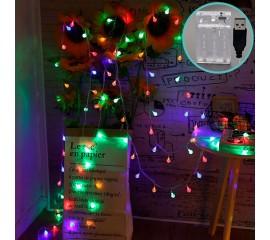 "Гирлянда ""Хрустальные шарики"", 40led, 6 м, цветная, батарейки / USB"