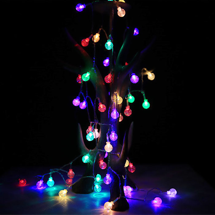 """Гирлянда """"Хрустальные шарики"""", 40 светодиодов, 6 м, цветная, 2 режима, батарейки / USB"""