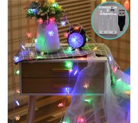 """Гирлянда """"Снежинки"""", 40led, 6 м, цветная, батарейки / USB"""