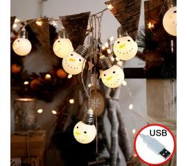 """Led гирлянда """"Лампочки-снеговички"""", usb, 20 ламп 3 м"""