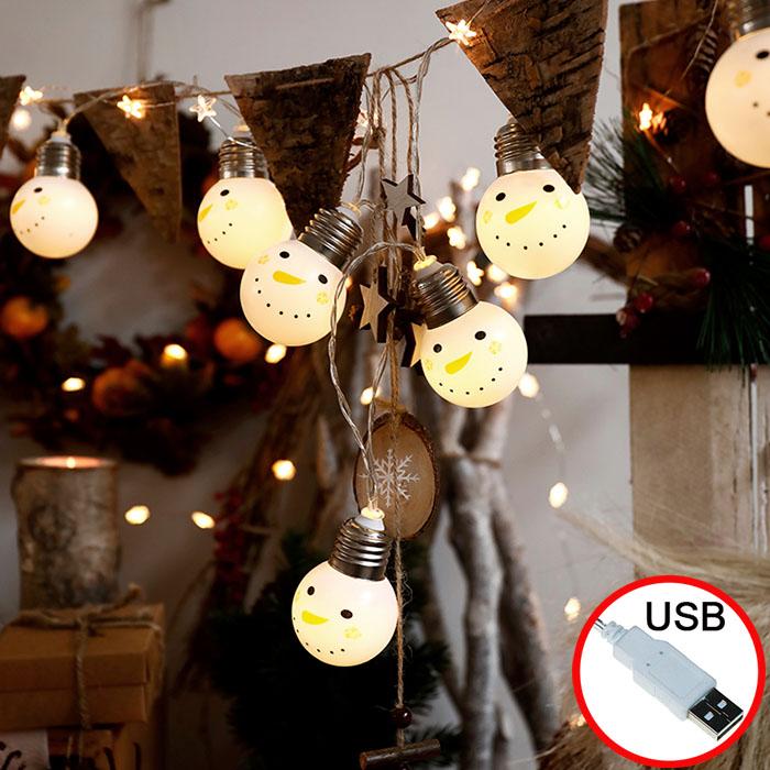 """Led гирлянда """"Лампочки-снеговички"""", USB, 8 режимов свечения, 20 ламп 3 м"""