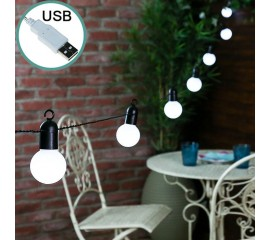 Гирлянда с лампочками 50 л., 15 м. белые, USB