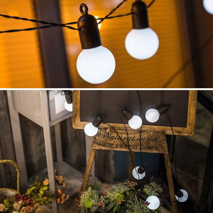 Гирлянда с лампочками 20 л., 6,5 м. белые, с блоком питания