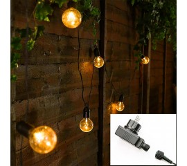 Гирлянда с лампочками 20 л., 6,5 м. прозрачные, с блоком питания