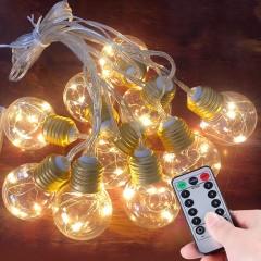 Гирлянда лампочки с LED нитями USB, пульт ДУ, 8 режимов, 20 ламп, 6 м