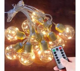 Гирлянда лампочки с LED нитями USB, пульт ДУ, 8 режимов, 10 ламп, 3 м
