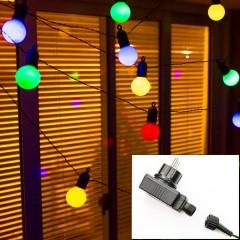Гірлянда з лампочками 50 л., 15 м. кольорові, з блоком живлення