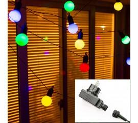 Гирлянда с лампочками 50 л., 15 м. цветные, с блоком питания
