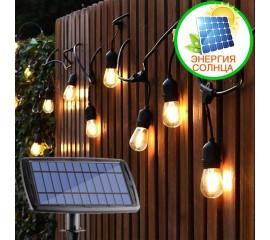 Премиум гирлянда со светодиодными лампами S14, на солнечной батарее + USB, 4 режима, 10 ламп, 7,2 м.