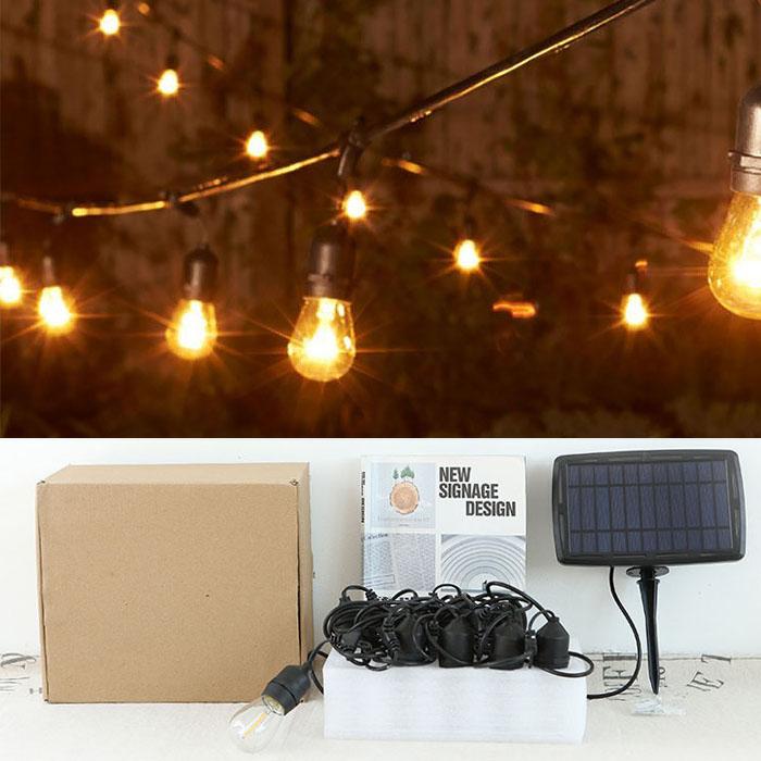 Премиум гирлянда со светодиодными лампами S14, на солнечной батарее + USB, 4 режима, 15 ламп, 15 м.