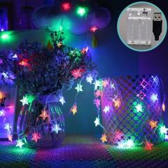 """Світлодіодна гірлянда """"Зірочки"""", 80 ламп, 10 м, кольорова, 2 режими, батарейки / USB"""
