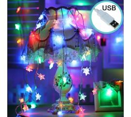 """Led гирлянда """"Звездочки"""" USB, 80 ламп 10 м цветная"""