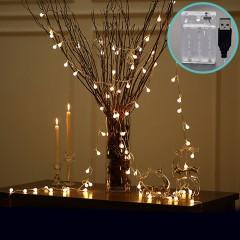 """Світлодіодна гірлянда """"Матові кульки"""", 40 ламп, 6 м, теплий білий, 2 режими, батарейки / USB"""
