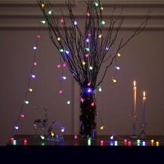 """Світлодіодна гірлянда """"Матові кульки"""", 80 ламп, 10 м, кольорова, на батарейках"""