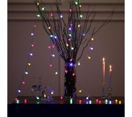 """Светодиодная гирлянда """"Матовые шарики"""", 80 ламп, 10 м, цветная, на батарейках"""