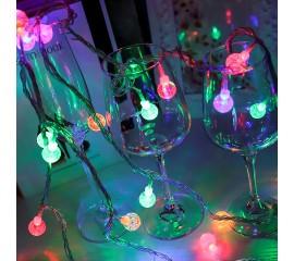 """Гирлянда """"Хрустальные шарики"""", 10 светодиодов, 1,5 м, цветная, на батарейках"""