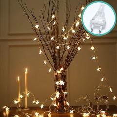 """Светодиодная гирлянда """"Звездочки"""", 50 ламп, 5 м, теплый белый, 8 режимов, от сети"""