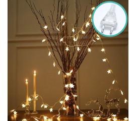 """Светодиодная гирлянда """"Звездочки"""", 100 ламп, 10 м,  от сети, теплый белый"""